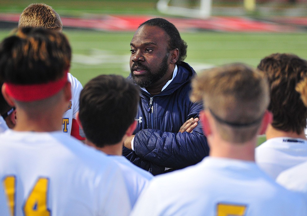 Prescott Head Coach Phil Reid talks to the players before the Badgers take on the Salpointe Catholic Lancers in the Arizona Interscholastic Association 4A State Soccer Championship Tuesday, February 19, 2019 at Williams Field High School in Gilbert. (Les Stukenberg/Courier).