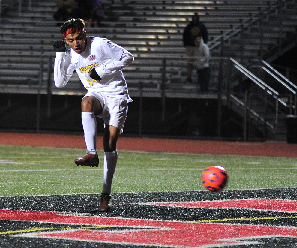 Prescott's Fernando Rodriguez scores Prescott's lone goal late in the first half as the Badgers take on the Salpointe Catholic Lancers in the Arizona Interscholastic Association 4A State Soccer Championship Tuesday, February 19, 2019 at Williams Field High School in Gilbert. (Les Stukenberg/Courier).