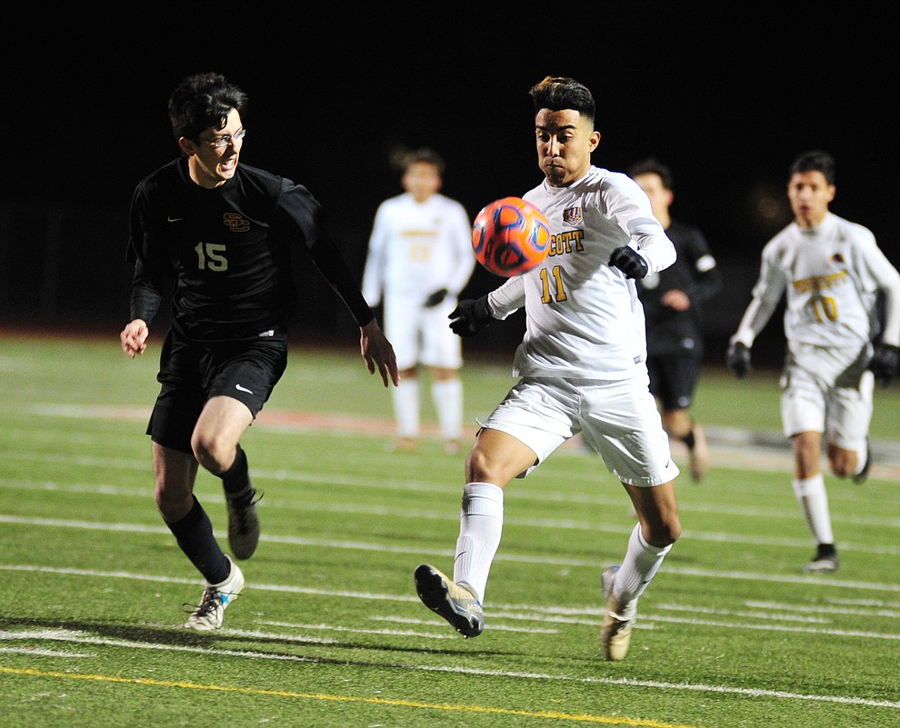 Prescott's Claudio Orozco controls the ball as the Badgers take on the Salpointe Catholic Lancers in the Arizona Interscholastic Association 4A State Soccer Championship Tuesday, February 19, 2019 at Williams Field High School in Gilbert. (Les Stukenberg/Courier).