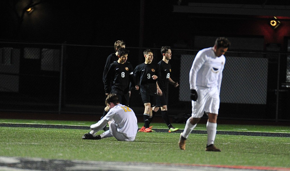 Prescott players react after a late penalty as the Badgers take on the Salpointe Catholic Lancers in the Arizona Interscholastic Association 4A State Soccer Championship Tuesday, February 19, 2019 at Williams Field High School in Gilbert. (Les Stukenberg/Courier).