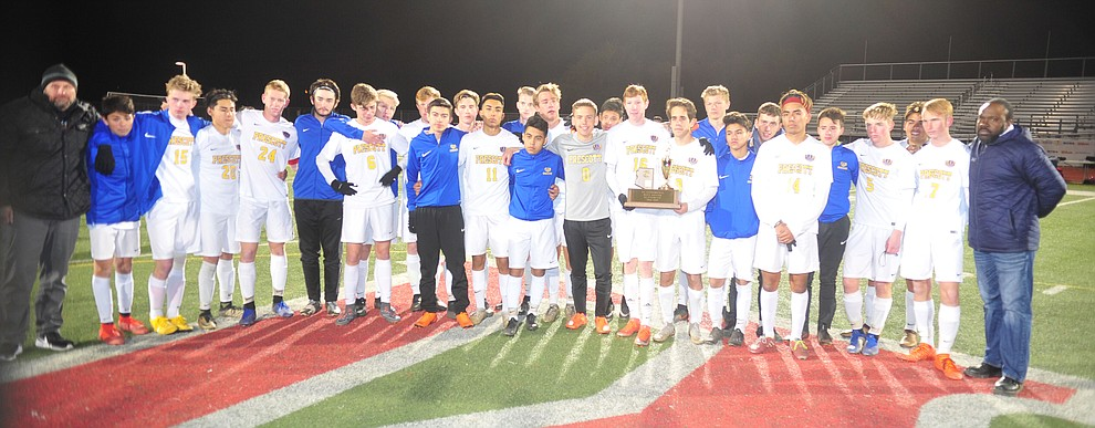 Prescott players gather for a group photo after the Badgers lost to the Salpointe Catholic Lancers in the Arizona Interscholastic Association 4A State Soccer Championship Tuesday, February 19, 2019 at Williams Field High School in Gilbert. (Les Stukenberg/Courier).