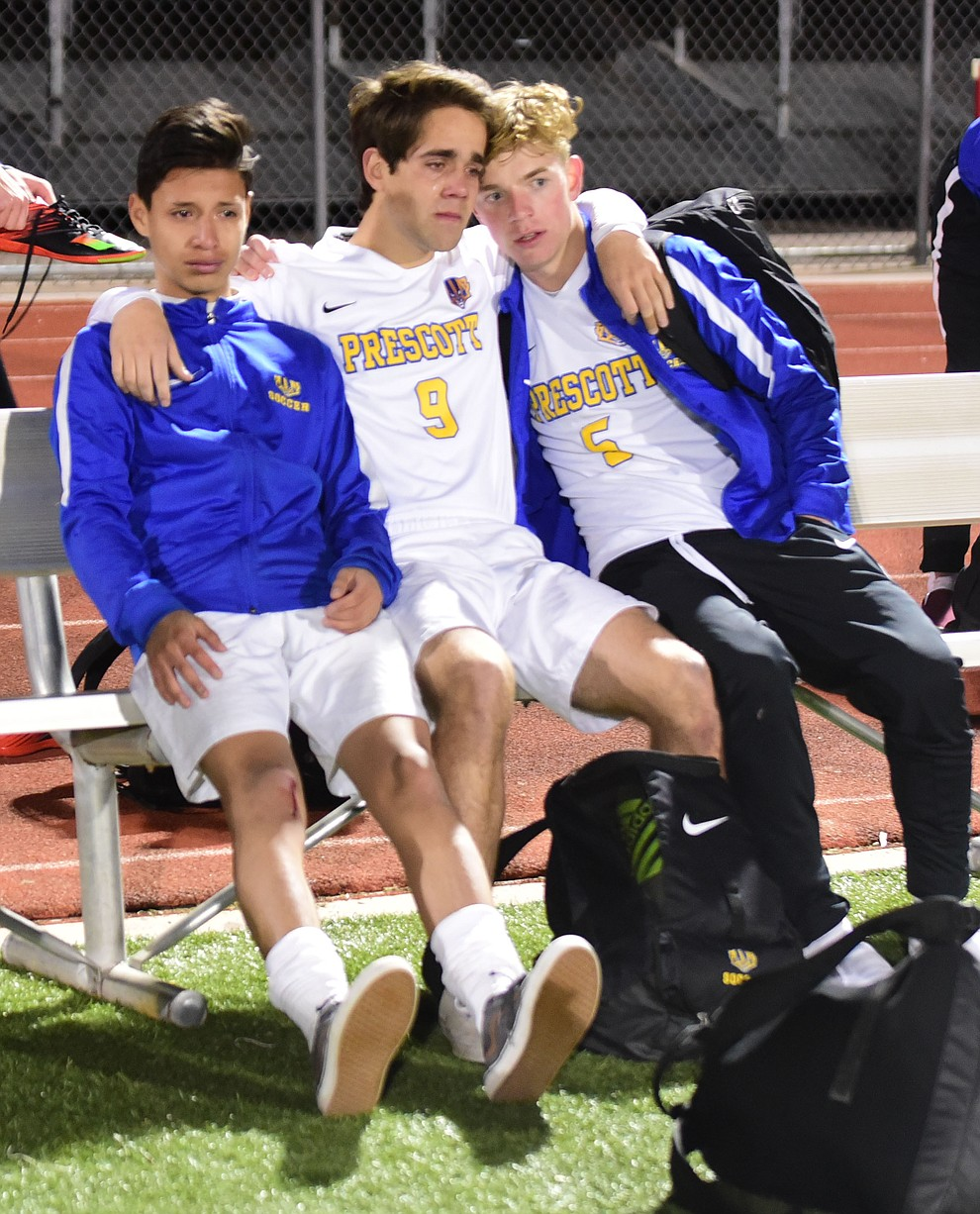 Prescott players are emotional after the Badgers lost to the Salpointe Catholic Lancers in the Arizona Interscholastic Association 4A State Soccer Championship Tuesday, February 19, 2019 at Williams Field High School in Gilbert. (Les Stukenberg/Courier).