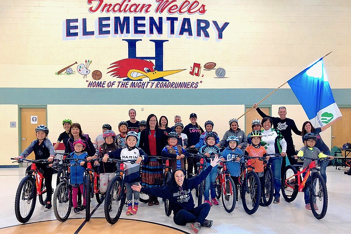 """Indian Wells Elementary School participates in """"Project Bike Love."""" The non-profit group donated 20 bikes and bike gear to Girl Scout Trooop 7314. (Photo/Office of the President and Vice President)"""