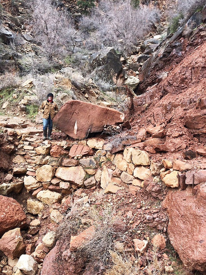 A wet winter caused a rockslide on the Bright Angel Trail Feb. 15. The trail is open but hikers are advised to use caution. Mules have been rerouted to the South Kaibab Trail. (Photo/NPS)