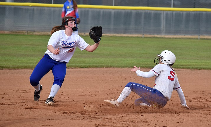 Camp Verde's Rachel Stockseth steals second during the Cowboys' 18-0 win over Mayer on Wednesday at home. VVN/James Kelley