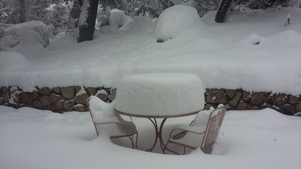 I thought this was a neat pic of how the snow formed a circle on a back patio table in Thumb Butte area. (Kerry Ott)