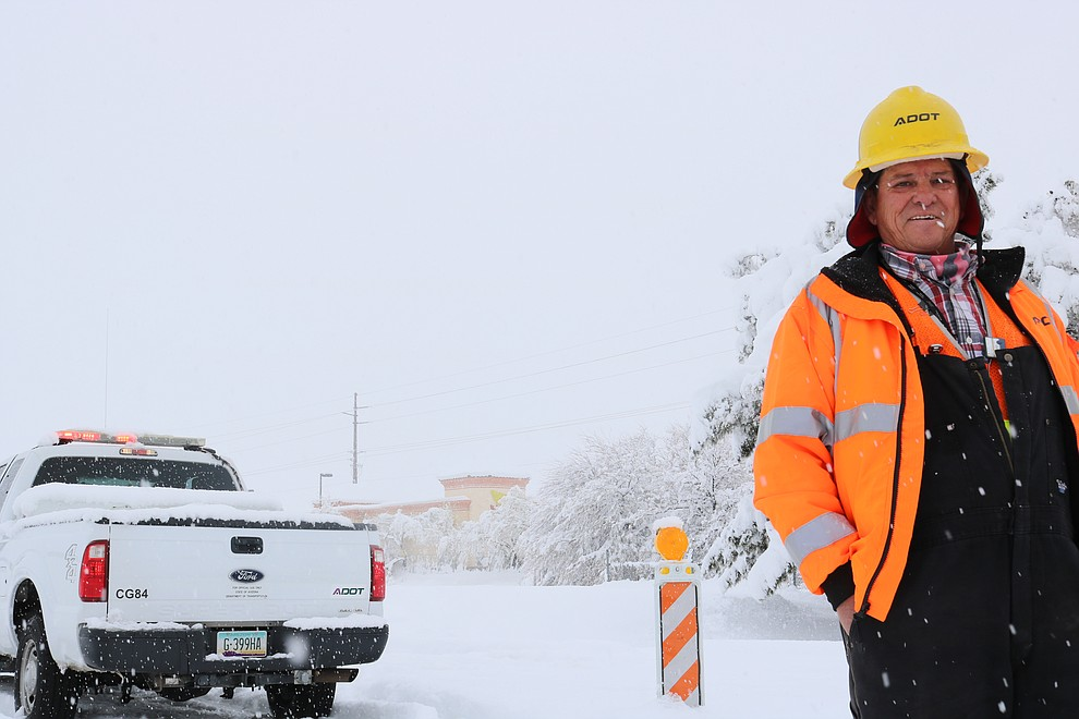 Michael Martinez, Arizona Department of Transportation worker at the intersection of Inteerstate 40 and Stockton Hill Road. (Photo by Travis Rains/Daily Miner)