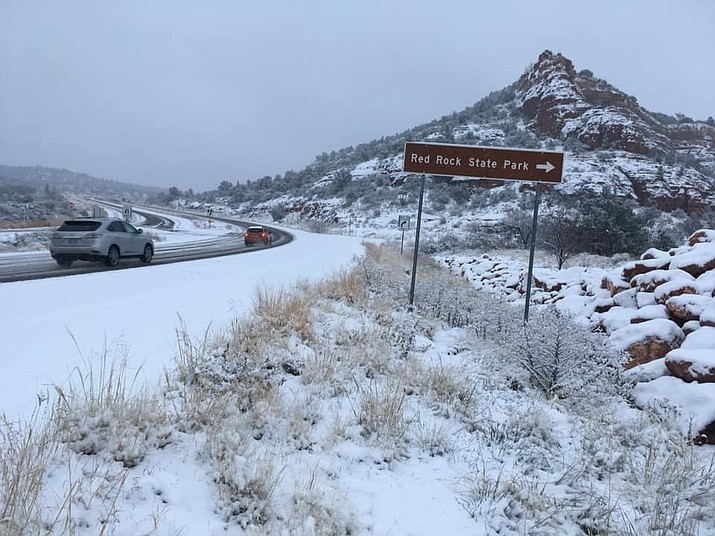 SR89A between Cottonwood and Sedona is open. This is Lower Red Rock Loop Road and SR89A at 7:45 a.m. VVN/Vyto Starinskas