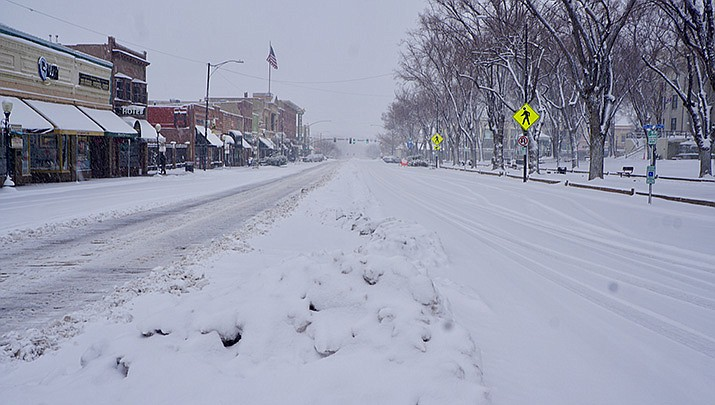 In accordance with ARS 26-311, Prescott Mayor Greg Mengarelli signed a Proclamation of Emergency related to the snow event which started Thursday, Feb. 21, 2019. The proclamation allows the City to seek reimbursement if and when a State or Federal Emergency or Disaster Declaration is made. (Feb. 21, 2019 Whiskey Row photo by Cindy Barks/Daily Courier)