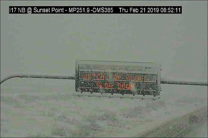 The ADOT sign on I-17 at Sunset Point on Thursday, Feb. 21, 2019. (ADOT)