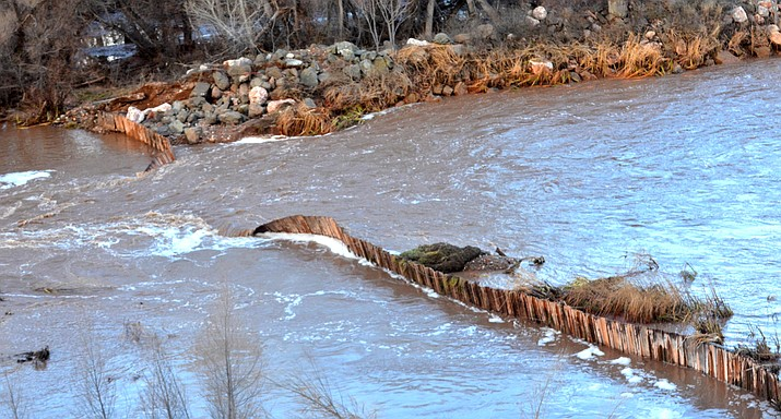 Last week's flooding on the Verde River caused a breach in the 105-year-old dam that diverts river water to Peck's Lake. VVN/Vyto Starinskas