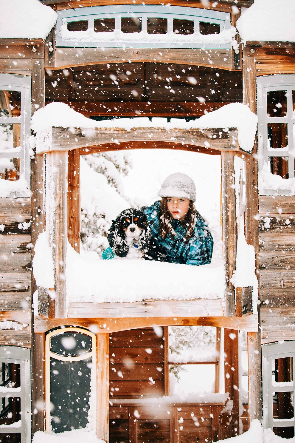 "My daughter Amelia and her doggie Betty Lou LaRue both ADORE this snow! Photo taken Thursday morning. We area at 13"" and counting here in Skull Valley .~ manda laine photography ~"