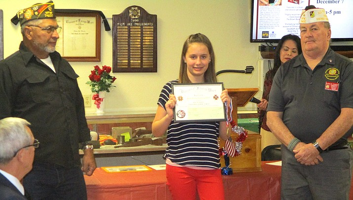 Clarkdale-Jerome's Jolene Earles takes 2nd in state VFW essay competition