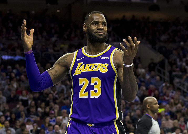 Los Angeles Lakers' LeBron James reacts during the second half of a game against the Philadelphia 76ers, Sunday, Feb. 10, 2019, in Philadelphia. (Chris Szagola/AP)