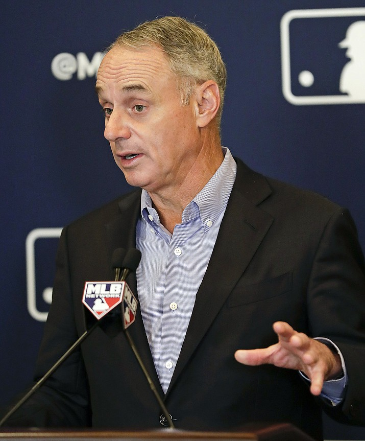 Rob Manfred, commissioner of Major League Baseball, speaks during a news conference at owners meetings Feb. 8, 2019, in Orlando, Fla. (John Raoux/AP, file)