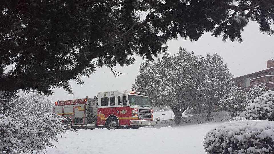Prescott Fire Department answering a Snowstorm Emergency Call in the Yavapai Hills neighborhood. MANY THANKS to our First Responders for ALL you do! (Joan Balda)