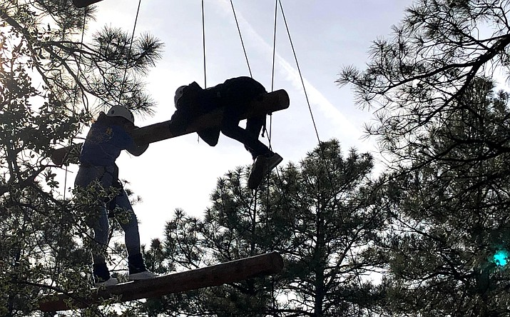 At the January 2019 Rotary Youth Leadership Awards conference in Prescott, high school students participate in a challenge course at 8 a.m. one 30-degree morning, Violet King said. Photo courtesy Violet King