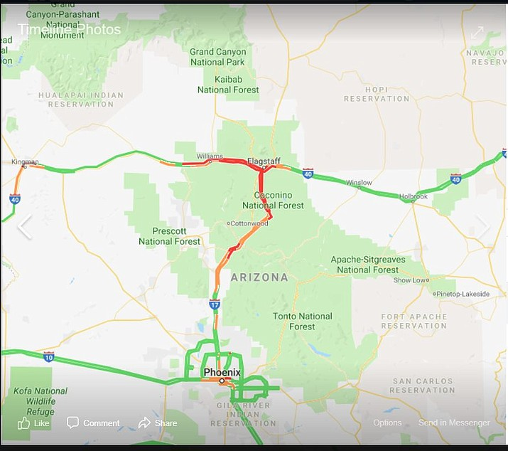 Road conditions are rapidly changing in northern Arizona because of the heavy snowstorm. (Graphic/ADOT)
