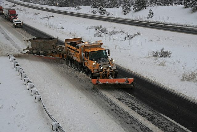 DPS reports that a semi-truck clipped a ADOT snowplow this morning near Parks. (photo/ADOT)
