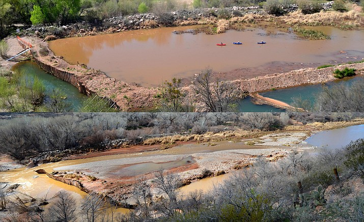 The file photo on top shows the pond and levy on the Verde River with kayakers, with the photo below showing the dam breached and the pond and levy destroyed after last week's flooding. VVN/Vyto Starinskas