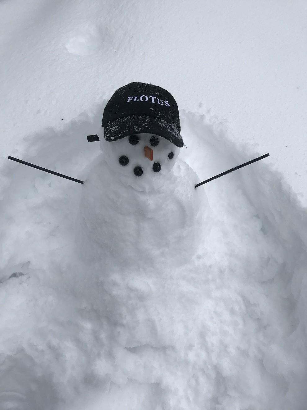 FLOTUS snowman taken at 4pm 2/21 in downtown Prescott