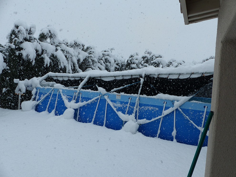 The snow was so heavy that it collapsed our shade cloth awning over our swimming pool here in Walleck Ranch. (Submitted photo by Ted Allen)
