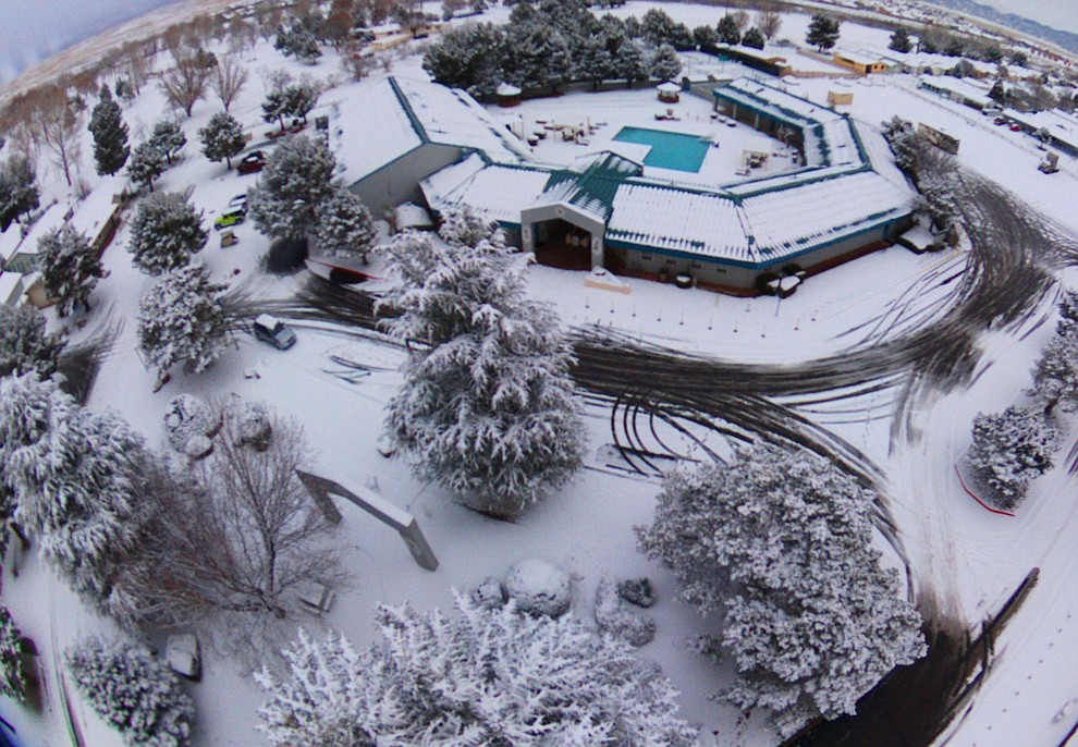 Drone photos of snowfall from The Villages at Lynx Creek