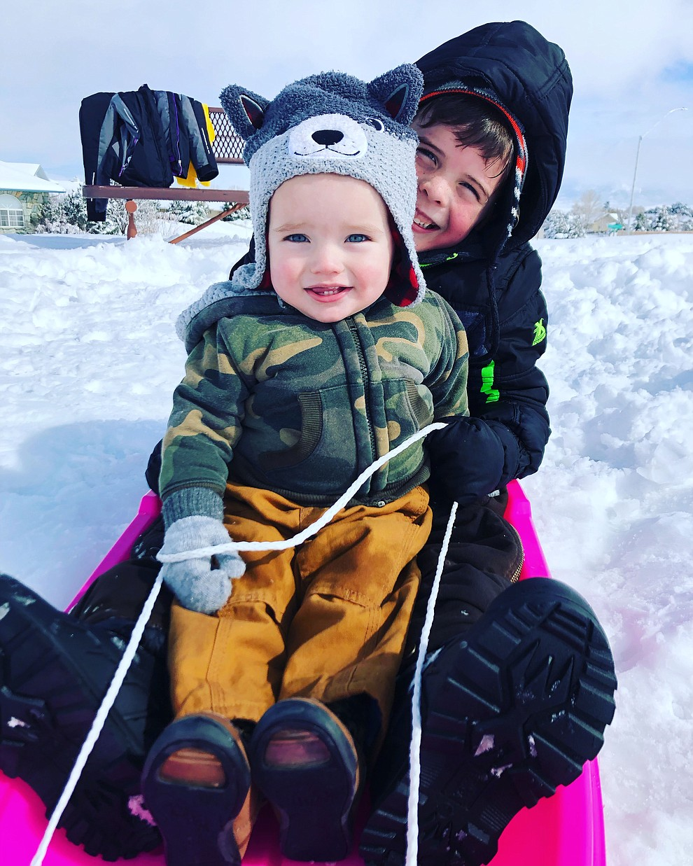 Austin Goad 1 y/o first time sledding with his brother Brantley Goad 6 y/o at Bob Edwards Park in Prescott Valley. 2/22/19