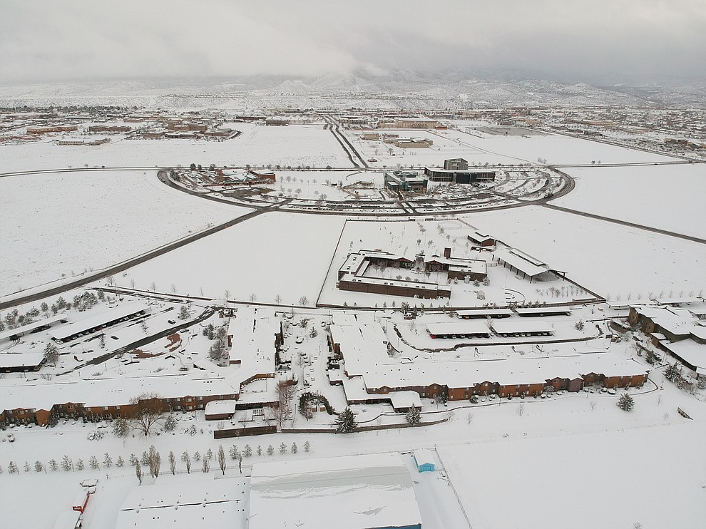An aerial shot of the snowfall around the Prescott Valley Library and surrounding area. Taken the evening of Thursday Feb 21.