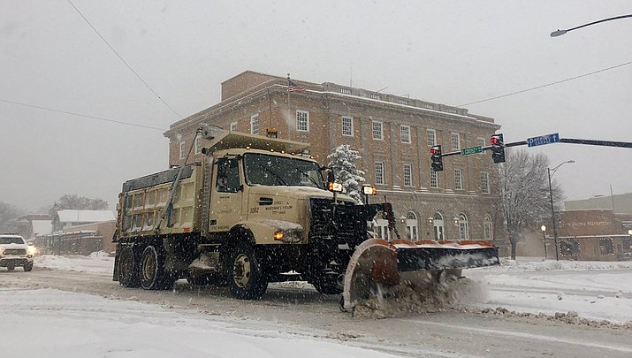The City of Prescott has every available resource out working on snow removal. Public Works currently has 16 plows, 5 graders, and 7 backhoes deployed and are concentrating on the main arterials and major and minor collectors. (Cindy Barks/Daily Courier)