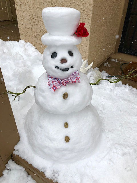 I just had a family member suggest that I send along some pics of a snowman that I made today just for fun and smiles (the 2nd one I've ever made in my life), so here goes:.
