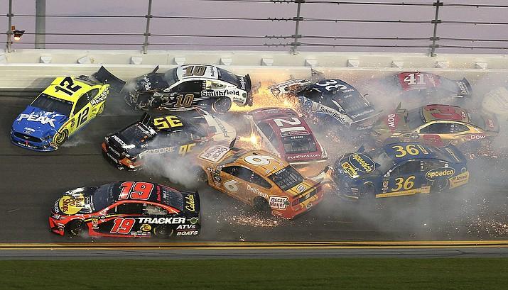 Multiple cars crash in turn 3 during the NASCAR Daytona 500 at Daytona International Speedway, Sunday, Feb. 17, 2019, in Daytona Beach, Fla. (Gary McCullough/AP)