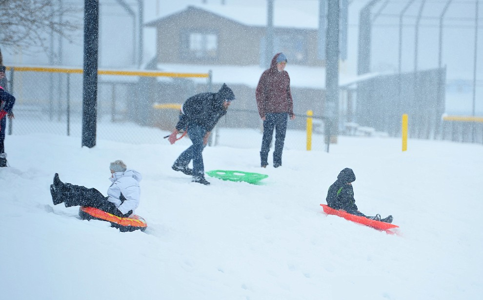 It was a busy afternoon sledding at Mountain Valley Park in Prescott Valley Friday, Feb. 22, 2019