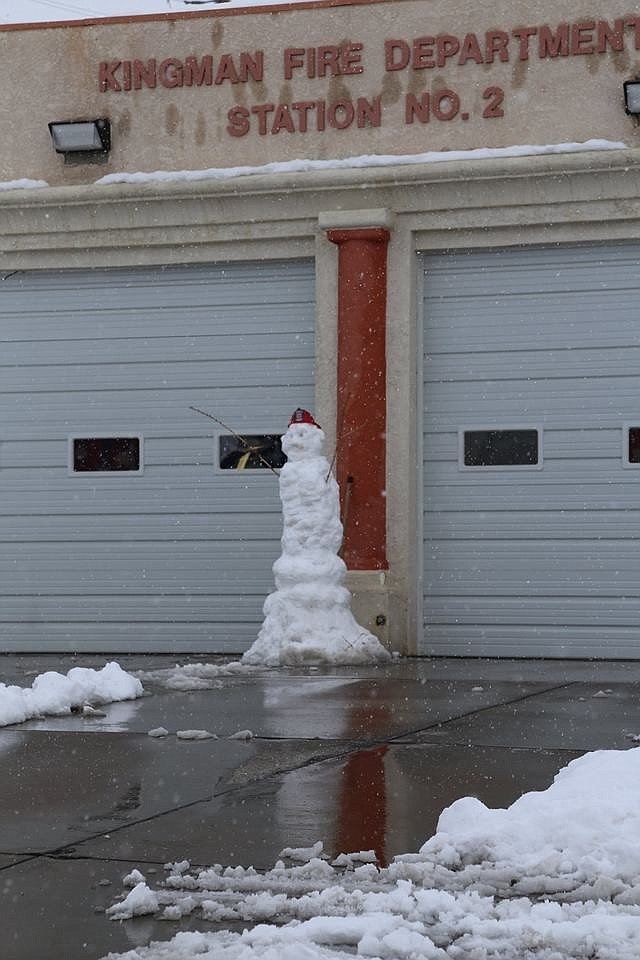 City of Kingman Fire Station No. 2 had a friendly snowman outside. (Courtesy KFD)