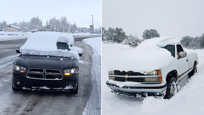 LEFT: This car late this past week near Glassford Hill Road and Highway 69 was being operated with snow on its windshield. (Courtesy) RIGHT: This truck's driver was stopped by the Yavapai County Sheriff's Office for being unsafe. (YCSO/Courtesy)