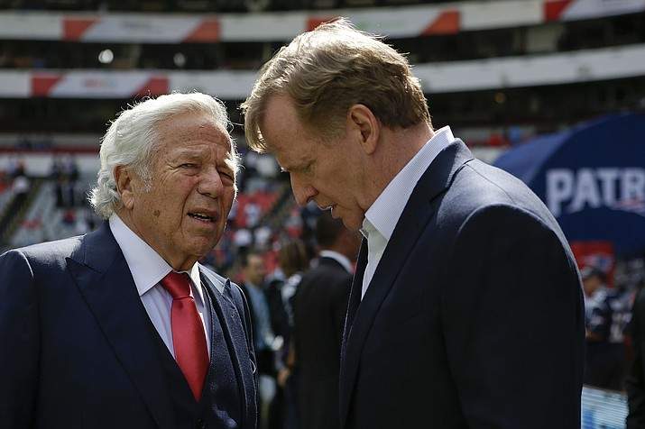NFL Commissioner Roger Goodell, right, talks with New England Patriots owner Robert Kraft before the Patriots face the Oakland Raiders Nov. 19, 2017, in Mexico City. (Rebecca Blackwell/AP, File)
