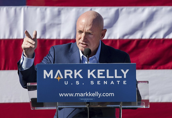 Mark Kelly speaks during his senate campaign kickoff event in Tucson, Ariz. The former astronaut is the husband of former congresswoman Gabrielle Giffords. (Mike Christy/Arizona Daily Star via AP)