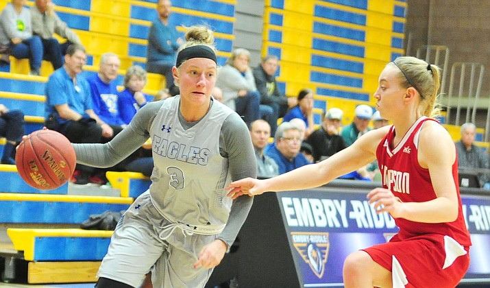 Embry-Riddle's Jordenn Reibel drives to the basket as the Eagles take on the Simpson on Jan. 31, 2019 in Prescott. Embry-Riddle advanced to the Cal Pac Conference Tournament championship game after a 81-71 win against Simpson on Saturday, Feb. 23, in Lancaster, Calif. (Les Stukenberg/Courier, file)