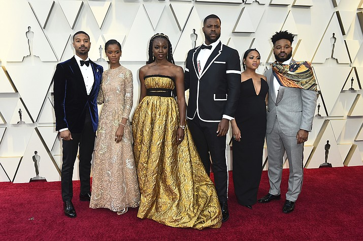 Michael B. Jordan, from left, Letitia Wright, Danai Guriraz, Winston Duke, Zinzi Evans, and Ryan Coogler arrive at the Oscars on Sunday, Feb. 24, 2019, at the Dolby Theatre in Los Angeles. (Photo by Jordan Strauss/Invision/AP)