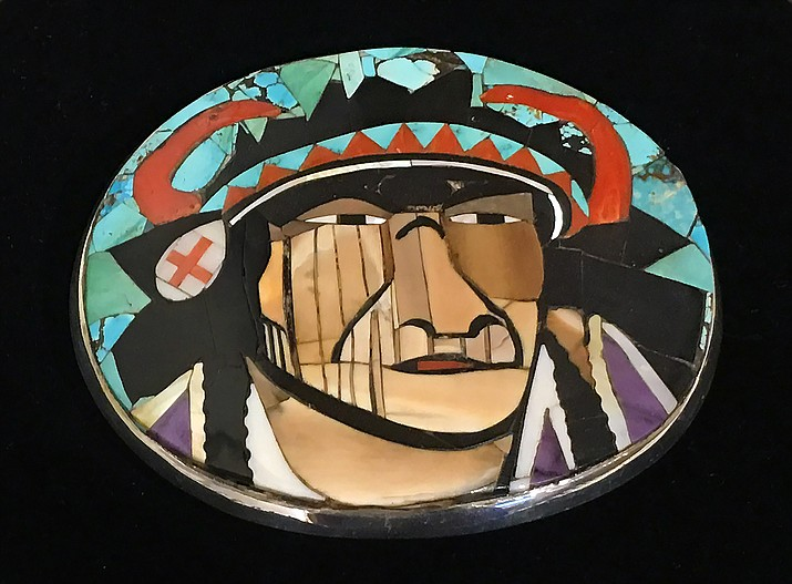 The rare inlay portrait belt buckle by Danny Romero is more art piece than wearable art – though for the right collector with the right special occasion, it may warrant being taken from its shadowbox.