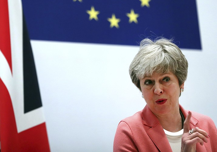 British Prime Minister Theresa May speaks during a media conference at the conclusion of an EU-Arab League summit at the Sharm El Sheikh convention center in Sharm El Sheikh, Egypt, Monday, Feb. 25, 2019. British Prime Minister Theresa May stays convinced that March 29 remains a realistic Brexit date, despite the EU urging Britain to delay its departure from the bloc to avoid a chaotic rupture. (Francisco Seco/AP)