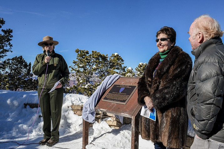 The American Society of Civil Engineers recognized the Kaibab Trail Suspension Bridge in a ceremony Feb. 23 at Yavapai Geology Museum on the South Rim. (Terri Attridge/NPS)