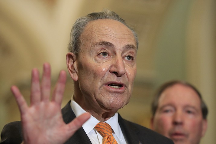 Senate Minority Leader Chuck Schumer of N.Y. with Sen. Tom Udall, D-N.M., speaks to reporters on Capitol Hill in Washington, Tuesday, Feb. 26, 2019. (Manuel Balce Ceneta/AP)