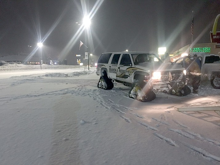 Coconino County Sheriff's Office search and rescue teams used tracked vehicles to rescue a stranded couple east of Tusayan Feb. 19. (Photos courtesy of CCSO)