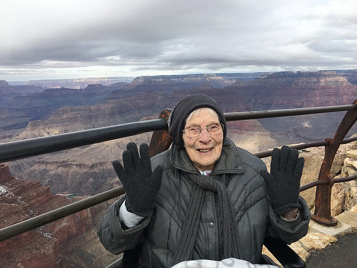 Rose Torphy made her second visit to Grand Canyon National Park Jan. 14. She recently turned 103. (Photo courtesy of Cheri Stoneburner)