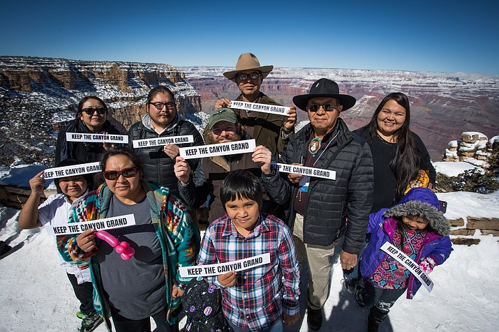 Supporters of the Grand Canyon Centennial Protection Act gather at the South Rim Feb. 23. (Amy Martin/Grand Canyon Trust)