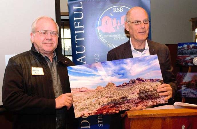 KSB Vice President Mike Yarbrough presented Village resident Ken Zoll its award for Cultural Heritage.