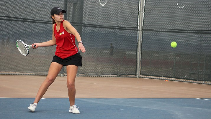 Macie Wilson couldn't have asked for a better start to her prep career as she defeated Sierra Linda's top player Destiny Robles to help the Lady Vols win the match 8-1. (Photo by Beau Bearden/Daily Miner)