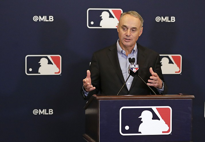 Rob Manfred, commissioner of Major League Baseball, speaks during a news conference at owners meetings Friday, Feb. 8, 2019, in Orlando, Fla. (John Raoux/AP)