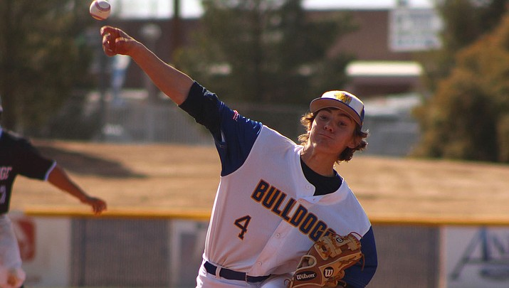 Kingman High's Luke Ness allowed just two hits in five innings of work Thursday, but the Bulldogs couldn't capitalize during a 1-1 tie with Gila Ridge. (Photo by Beau Bearden/Daily Miner)
